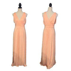 IMAN Peach Rayon Maxi Dress Sz M GORGEOUS